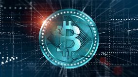 Virtual Bitcoin crypto-currency background Royalty Free Stock Images