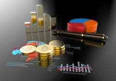 Virtual Bitcoin cryptocurrency financial market graph. Cryptocurrency Bitcoin and virtual financial currency market exchange Royalty Free Stock Photography