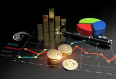 Virtual Bitcoin cryptocurrency financial market graph. Cryptocurrency Bitcoin and virtual financial currency market exchange Royalty Free Stock Photo