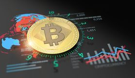 Virtual Bitcoin cryptocurrency financial market graph. Cryptocurrency Bitcoin and virtual financial currency market exchange. Virtual future money Stock Image