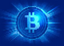 Virtual bitcoin digital currency consist of binary code Royalty Free Stock Photos