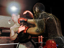 Virtual boxing. Two boxers  fighting under the lights. One of them receives a hard punch which makes him lose his teeth protector Royalty Free Stock Image