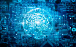 Virtual brain innovative technology in science and medical conce Royalty Free Stock Photos