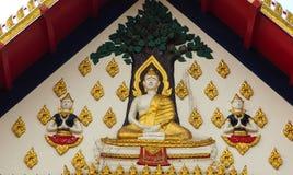 Virtual Buddha temple roof, stucco wall. Stock Image