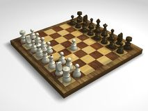 Virtual Chessboard. White begins on a virtual chessboard (3d render Royalty Free Stock Image