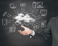 Virtual cloud network concept Royalty Free Stock Images