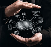Virtual cloud network concept Royalty Free Stock Image