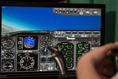 Virtual cockpit on the monitor screen royalty free stock image