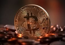 Virtual Coins Bitcoins On Brown Background Stock Photography