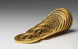 Virtual Coins Bitcoins. On Gray Background. 3D Scene Royalty Free Stock Image