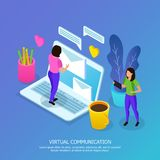Virtual Communication Isometric Illustration royalty free illustration