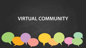 Virtual community white text illustration with colourful empty callouts and black background Stock Image