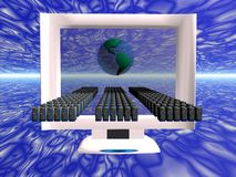 Virtual computer virus spread. Illustration of a computer virus spread on the net. Security, firewall concept.  Copy space, clipping path Royalty Free Stock Photos