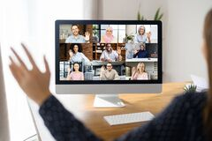 Free Virtual Conference On The Computer Screen Stock Images - 216522564