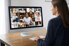 Free Virtual Conference On The Computer Screen Royalty Free Stock Images - 216523209