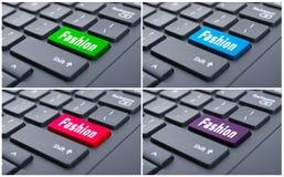 Virtual creativity concept with fashion button Stock Photo
