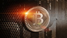 Virtual cryptocurrency Bitcoin sign Stock Photo
