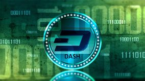 Virtual cryptocurrency Dash coin sign Royalty Free Stock Photo