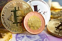 Virtual cryptocurrency - financial technology and internet money royalty free stock images