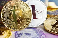 Virtual cryptocurrency - financial technology and internet money royalty free stock photos