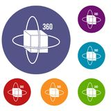 Virtual cube icons set Stock Images
