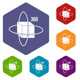 Virtual cube icons set hexagon. Isolated vector illustration Stock Photo