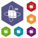 Virtual cube icons set hexagon Stock Photo