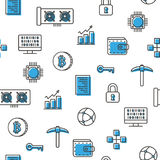 Virtual currency bitcoin mining seamless pattern blue icons with white background. Vector Stock Image