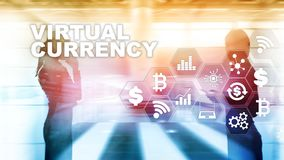 Virtual Currency Exchange, Investment concept. Currency symbols on a virtual screen. Financial Technology Background. Virtual Currency Exchange, Investment stock photography