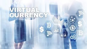 Virtual Currency Exchange, Investment concept. Currency symbols on a virtual screen. Financial Technology Background. Virtual Currency Exchange, Investment royalty free stock photo