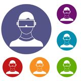 Virtual 3d reality goggles icons set Stock Image
