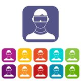 Virtual 3d reality goggles icons set. Vector illustration in flat style in colors red, blue, green, and other Stock Image