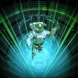 Virtual data core astronaut royalty free stock images