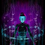 Virtual data explorer woman. 3D illustration of female figure surrounded by glowing virtual user interface Stock Image