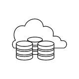 Virtual database storage. Icon  illustration graphic design Royalty Free Stock Photo
