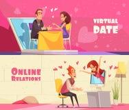Virtual Date Horizontal Banners stock illustration