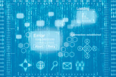 Abstract virtual desktop background. Virtual computer desktop displaying an error warning on an abscract matrix background stock illustration