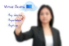 Virtual Desktop technology concept. Business woman writing Virtual Desktop technology concept Royalty Free Stock Photo