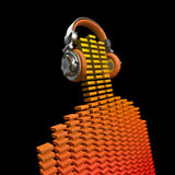 Virtual dj. 3D render of equalizer bars forming figure with headphones Royalty Free Stock Images