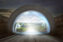 Virtual door on gateway arch to entrance mountains landscape. New life or beginning concept Stock Photography