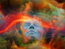 Virtual Dream. Lucid Dreaming series. Composition of human face and colorful fractal clouds on the subject of dreams, mind, spirituality, imagination and inner royalty free stock images