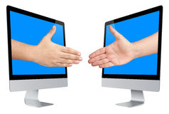 Virtual E-Business Handshaking Deal Screen Stock Photography