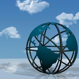 Virtual Earth Globe Sculpture. 3D Illustration of a virtual globe sculpture of the Earth, as on a business plaza vector illustration
