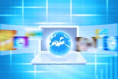 Virtual Earth on laptop Royalty Free Stock Images