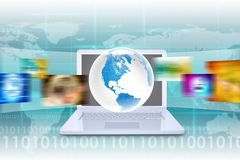 Virtual Earth on white laptop with world map Royalty Free Stock Photography