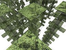Virtual ecocity. Render: virtual green city fragment stock illustration