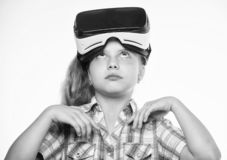 Virtual education for school pupil. Happy kid use modern technology virtual reality. Get virtual experience. Girl cute. Child with head mounted display on white royalty free stock photos