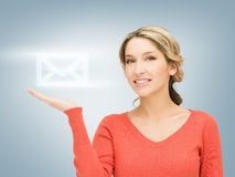 Virtual envelope on the palm Royalty Free Stock Photos
