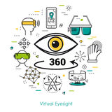 Virtual Eyesight - Line Art. Vector concept of Virtual Eyesight. Innovations technology in thin line style. Eye sign and arrow with 360 degrees and other online Stock Images