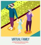 Virtual Family Isometric Background Royalty Free Stock Photo